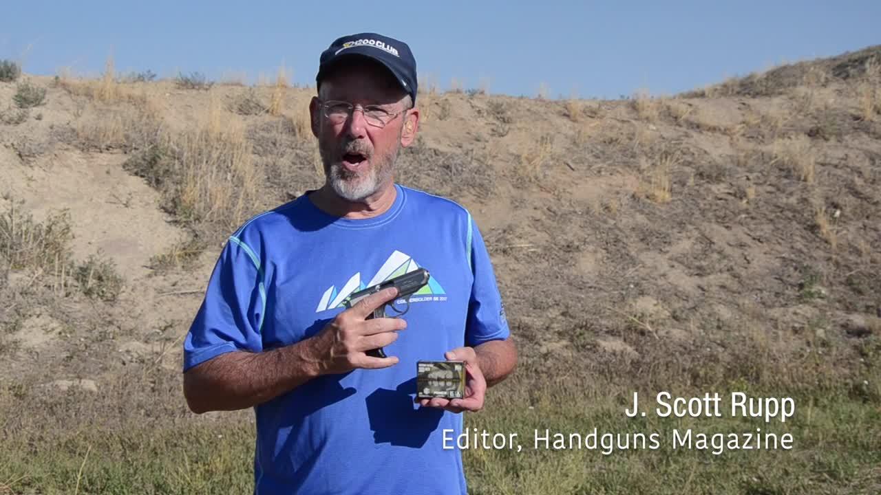 Handguns editor Scott Rupp fires some Federal Punch .380 defensive handgun ammo into ballistics gel the range for a performance test run.