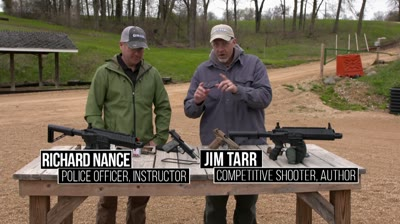 "Gun Tech Editor Richard Nance and Pro-Shooter Jim Tarr head to the range with both .177-caliber airguns to test their aim and demonstrate why the full-auto selector is often called the ""giggle switch."""