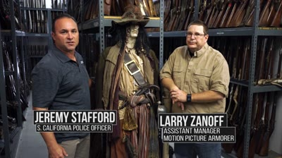 "Guns & Ammo TV is returns to Independent Studio Services (ISS) with armorer Larry Zanoff. In this segment of ""Hero Guns,"" Handgunning Editor Jeremy Stafford gets to know the pistol carried by ""Captain Jack Sparrow,"" as portrayed by actor Johnny Depp in ""Pirates of the Caribbean."" Sparrow's pistol was based on a .62-caliber Perry flintlock. While there, Stafford also gets to examine a London-made Queen Anne pistol in .50-caliber used by Keira Knightley's character, ""Elizabeth Swann."""